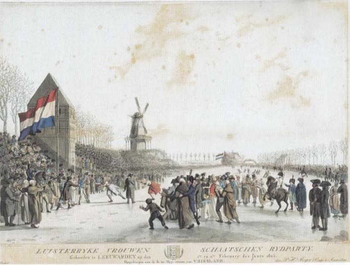 Een 'Luisterryke vrouwen schaatschen rydparty' op de Stadsgracht in Leeuwarden in 1805. Ets en aquatint van Jacob Ernst Marcus naar een tekening in waterverf van Aldert Jacob van der Poort.