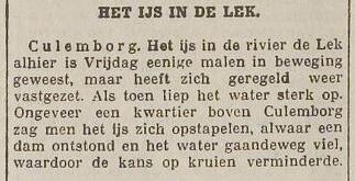 Het ijs bij Culemborg begint te kruien. Amersfoortse Courant/De Eemlander, 9 maart 1929.