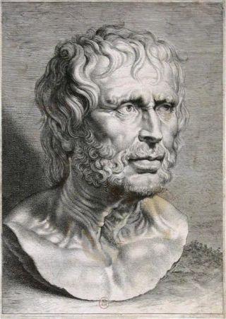 Portret van Seneca door Lucas Vorsterman, 1638. Bron: Wikimedia