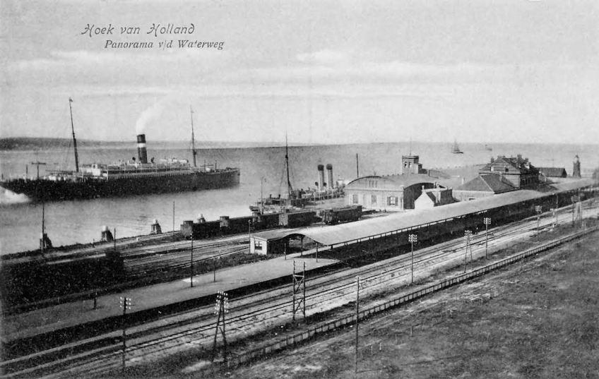 Ansichtkaart station Hoek van Holland, ca. 1910 (collectie Spoorwegmuseum)