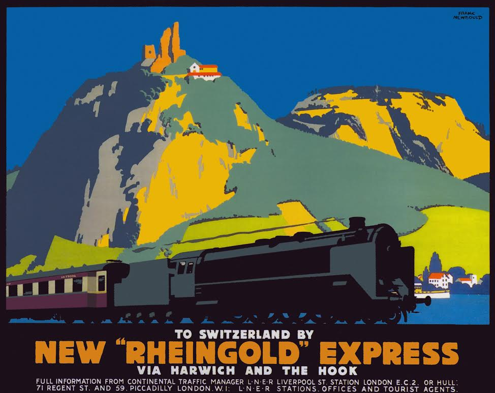 Affiche New Rheingold Express (LNER), Frank Newbould, 1928 (privécollectie)