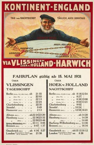 Affiche Kontinent-England, SMZ-LNER, 1931 (collectie Spoorwegmuseum)