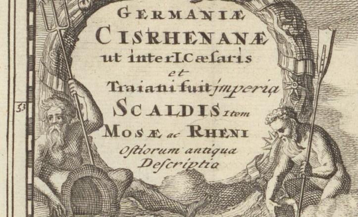 ...detail van de kaart van de Nederlanden ten tijde van Caesar en Trajanus...
