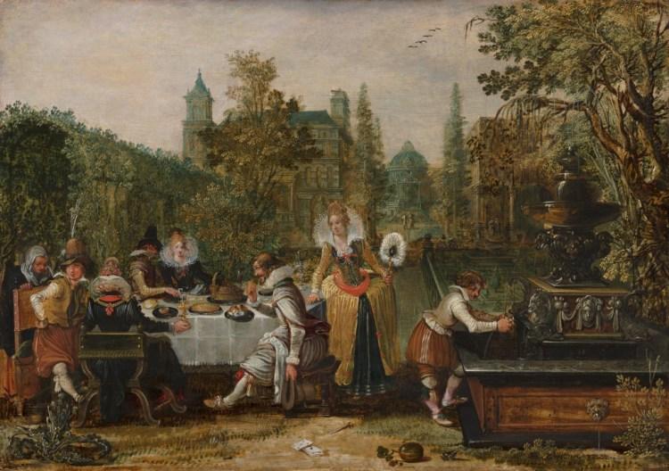 Esaias van de Velde (1587-1630) - Vrolijk gezelschap in een park, 1614 - Mauritshuis, Den Haag