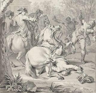 Dodelijke val van Willem III van zijn paard, (detail) – Jacobus Buys (Rijksmuseum Amsterdam)