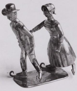 Jacobus Held, Schaatsend paar, ca. 1880 (miniatuurzilver)