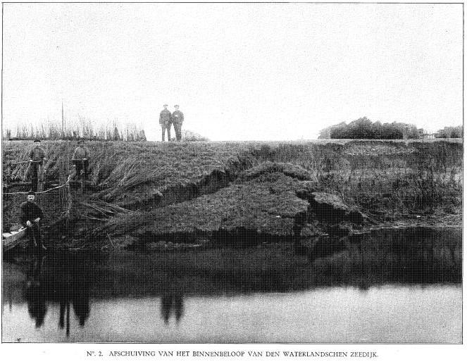 Een afschuiving van de Waterlandse Zeedijk (Rapport Rijkswaterstaat 1916)