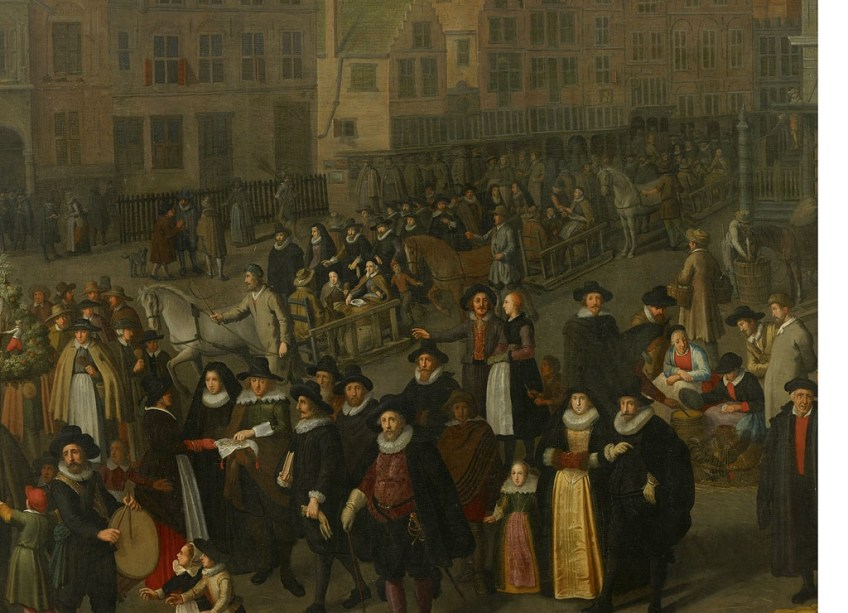 Adriaen van Nieulandt, De Dam in 1604 tijdens de laatste Leprozenommegang op Koppertjesmaandag, 1633 (detail)