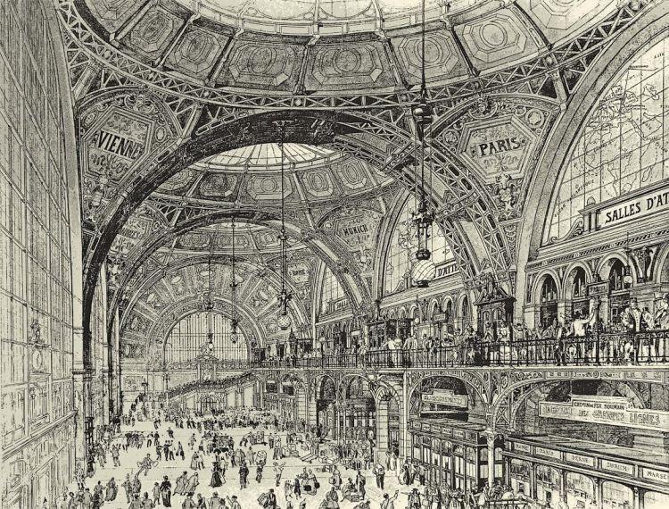 Ontwerp stationshal Boekarest Centraal door Alexandre Marcel, 1894