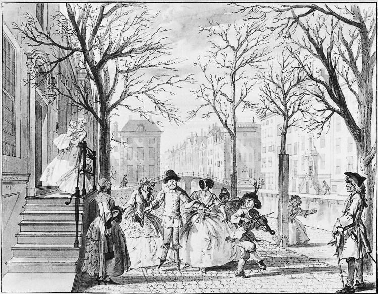 Cornelis Troost, Februari - Carnavalsvierders trekken langs een gracht, 1742