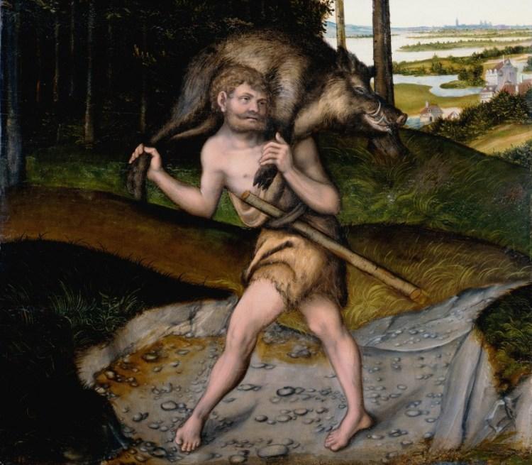 Herakles (Hercules) en het Erymanthische zwijn (Atelier LuHerakles (Hercules) en het Erymanthische zwijn (Atelier Lucas Cranach de Oude)cas Cranach de Oude)