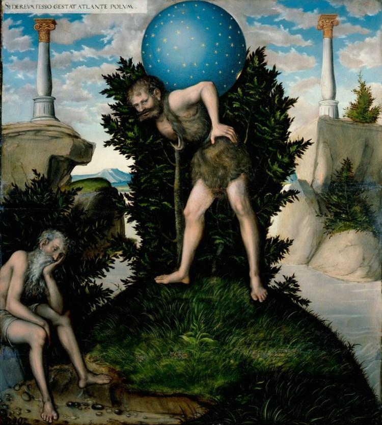 Herakles neemt het hemelgewelf tijdelijk van Atlas over (Atelier Lucas Cranach de Oude)
