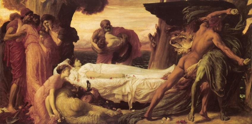 Herakles worstelt met de dood om het lichaam van koningin Alkestis - Frederic Leighton