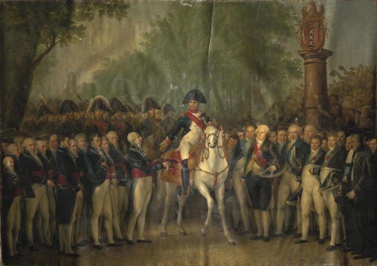 Napoleon krijgt de sleutels van de stad Amsterdam overhandigd