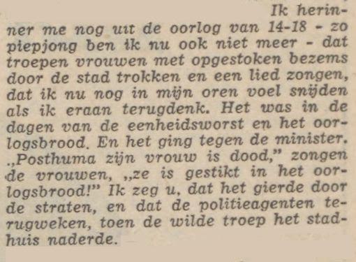In Limburg zongen vrouwen grove liedjes over Posthuma's vrouw. Bron: 'Rommedoe', Limburgsch Dagblad (22 okt. 1968) p.17