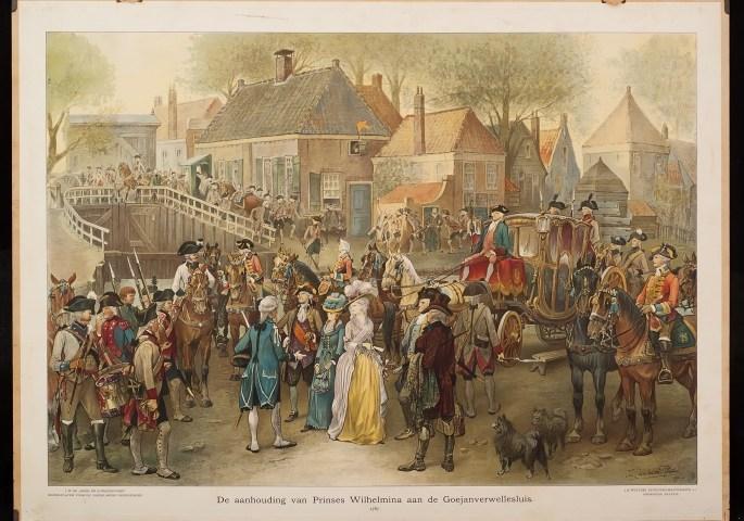 De aanhouding van Prinses Wilhelmina aan de Goejanverwellesluis, 1787 (historywallcharts.eu)