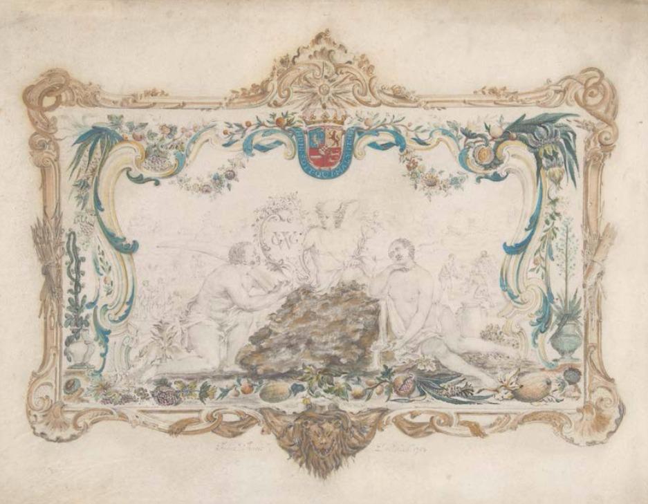 Tekening uit 1752 door François Thuret naar het door hemzelf ontworpen deksel