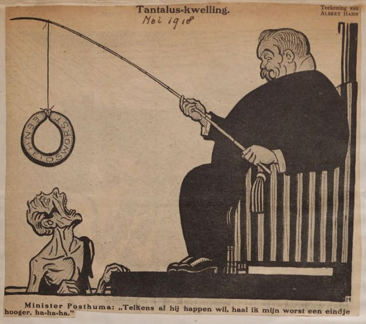 Cartoon van Albert Hahn over eenheidsworst, mei 1918. Bron: amsterdam-eerstewereldoorlog.nl