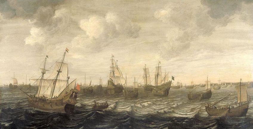 De Nederlandse haringvloot; schilderij van Cornelis Beelt (1640-1702)