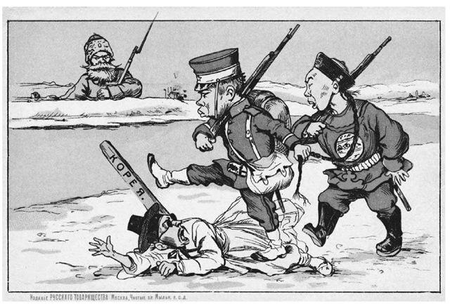 Japan bezet Korea. Russische spotprent waarop Japanse troepen Korea onder de voet lopen tijdens de Russisch-Japanse oorlog (1904-1905)