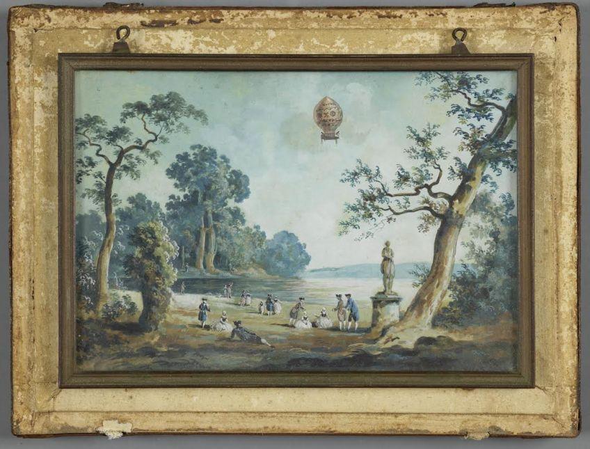 Louis-Gabriel Moreau (1740-1808), Luchtballon boven Saint-Germain, ca. 1783. Gouache; 11,5 x 16, 8 cm, aangekocht bij Emanuel von Baeyer London