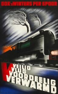 Affiche winter op het spoor, Kees van der Laan, 1938 (Spoorwegmuseum)
