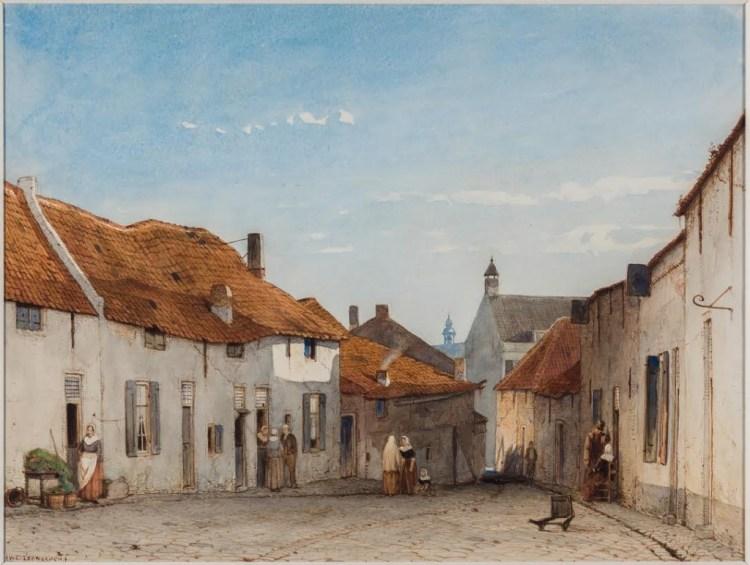 Jan Weissenbruch (1822-1880), De Grutterstraat in Rhenen, ca. 1850. Aquarel; 27,5 x 36,5 cm, aangekocht bij Kunstgalerij Albricht