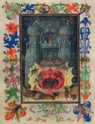 Aartsengel Michaël in gevecht met de draak. Anonieme prent, ca. 1450