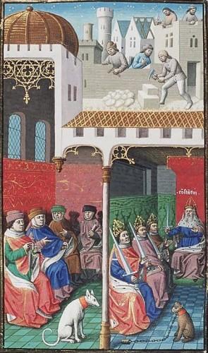Constantijn en zijn drie zonen. Bron: Wikimedia