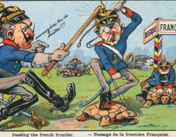 Keizer Wilhelm II (links) op een Franse postkaart