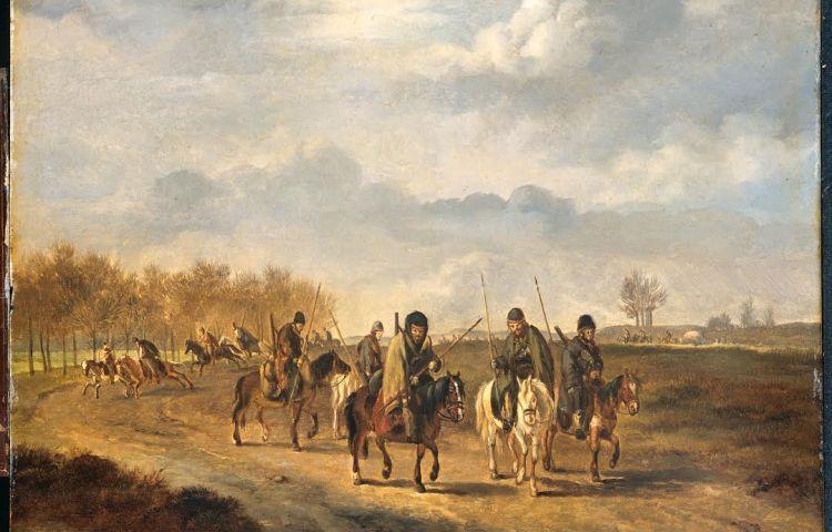 Kozakken op een landweg in Nederland 1813