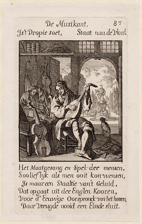 Casper Luyken naar Jan Luyken, De musikant, 1694. Ets uit Het menselyk bedryf. Collectie Amsterdam Museum, A_15813.jpg