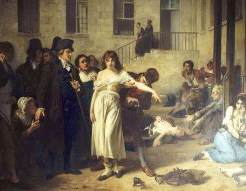 Tony Robert-Fleury, De Franse arts Philippe Pinel bevrijdt de vrouwelijke krankzinnigen in het Salpêtrière hospitaal in Parijs van hun kettingen (1795) - Wikipedia