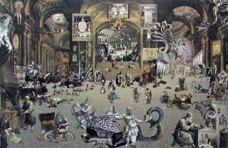 Kunstwerk dat de Tsjechische dichter-graficus Miroslav Huptych maakte n.a.v. Comenius' boek Labyrint van de wereld. Bron: Comenius Museum Naarden