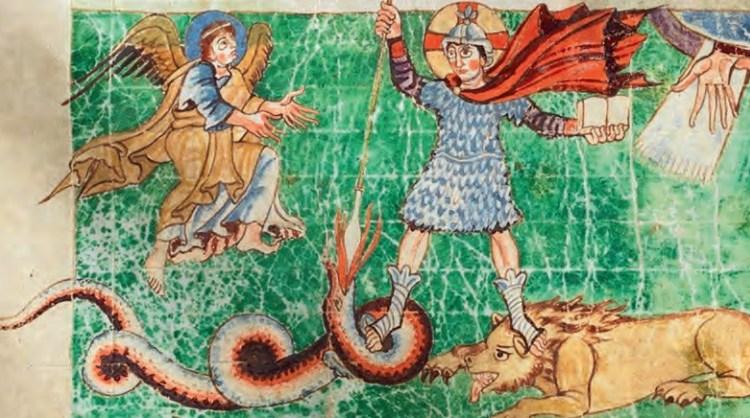Verleiding van Christus. Miniatuur uit Stuttgart Psalter, 820-830 (beeld: Vantilt)