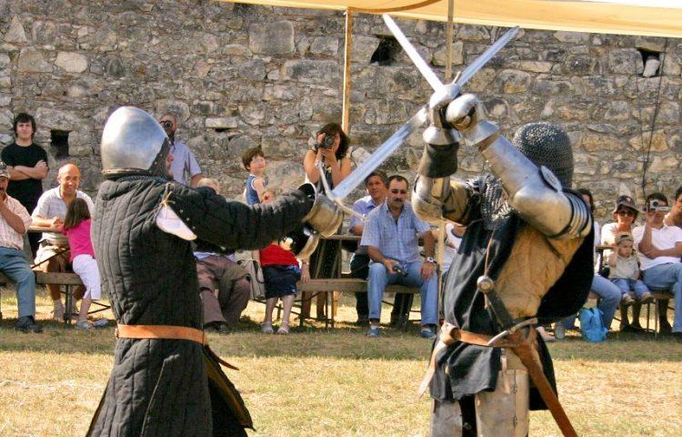 Ridders in gevecht tijdens een demonstratie