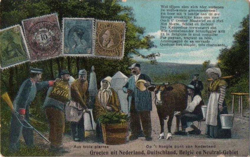 Humoristische ansichtkaart, met postzegels,  waarop de vier buurvolkeren bij het Vierlandenpunt in vier talen op de hak worden genomen, inclusief de koffiesmokkelaar.