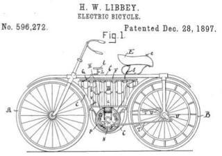 De elektrische fiets van Bolton, gepatenteerd eind 1897. Bron: electricscooters.co.za