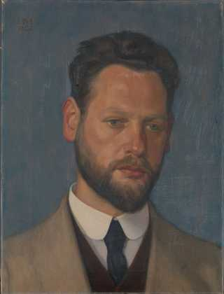 Portret van Michel de Klerk, door Hendrik Meijer (1921). Bron: boek / cc Amsterdam Museum.