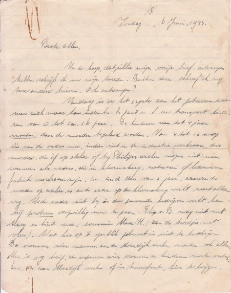 Brief van Tilly Bosman - 6 juni 1943 © Nationaal Monument Kamp Vught