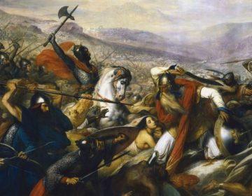 De slag bij Poitiers, door Carl von Steuben, tussen 1834 en 1837