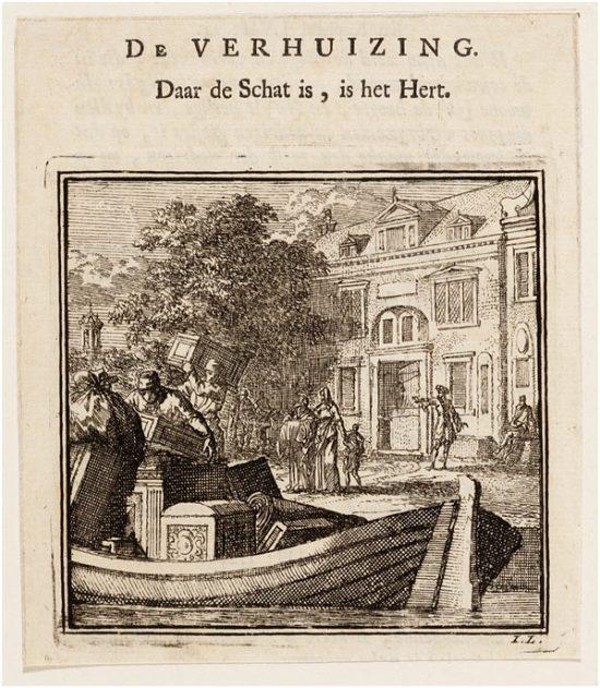 Jan Luyken, De verhuizing, 1711. Collectie Amsterdam Museum, A 19066