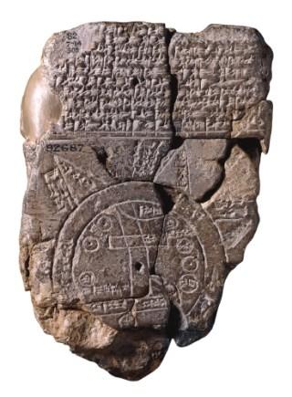 Kleitablet Babylonië uit de 6e eeuw v.Chr. De oudst bekende wereldkaart (met een platte aarde). Bron: Wikimedia (Eng.).