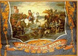 De Slag aan de Boyne van 1690; toen de katholieke koning Jacubus II werd verslagen