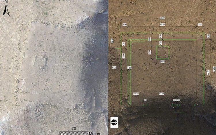 Drone-beelden waarop de contouren van het monument te zien zijn