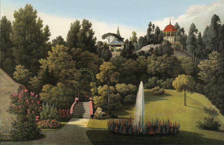 Lithografie van landschapspark Muskau, 1834