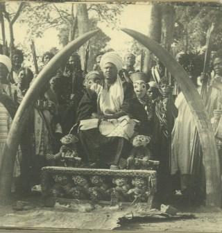 De Sultan van Bamoun op zijn troon. Bron: fotoboek Jan van Bommel