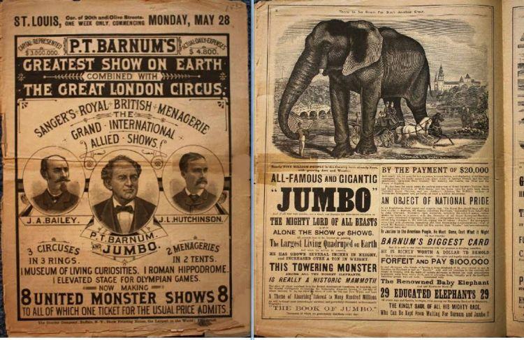 The Barnum Courier, 1883. Circuskrant. Bron: Wikimedia
