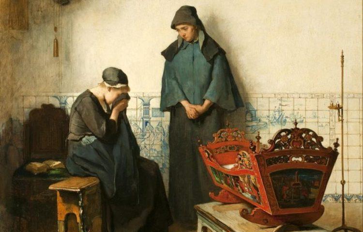De Heer heeft gegeven, de Heer heeft genomen, 1800 - 1899. Schilder: Christoffel Bisschop (1828-04-22 - 1904-10-05).