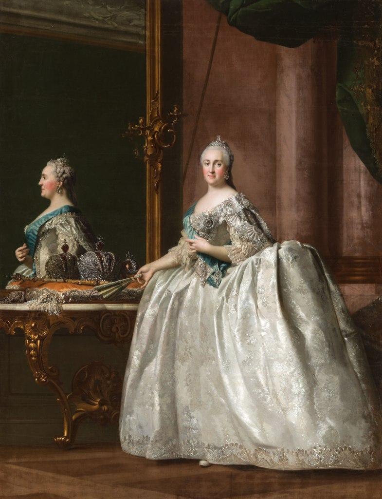 Vigilius Eriksen - Portret van Catharina II voor de spiegel, ca. 1763 Olieverf op doek © State Hermitage Museum, St Petersburg